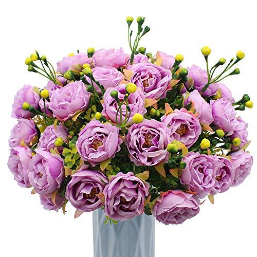 MZMing [4 Piezas] Flores de Peonía Artificial Flor de Peonía Falsa Arreglos Florales Ramo de Novia Flor de Seda con Brotes y Hojas para Casa Cocina Oficina Jardín Boda Fiesta Decoración - Púrpura
