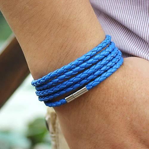 Elnker 5 Capas Pulseras de Cuero Hecho a Mano Alrededor de la Cuerda Hecha a Mano con la bracela de la Hebilla para los Hombres de Las Mujeres
