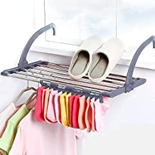 Flyngo Clothes Drying Stand Foldable Balcony Window Laundry Hanger Clothing, Socks, Shoes Rack and Plant Holder - Stainless Steel