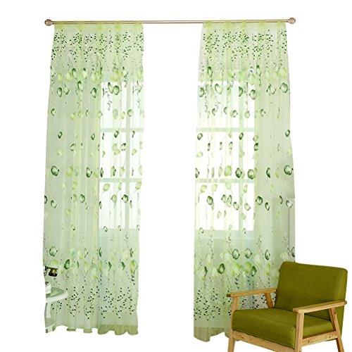 WINOMO - Tende per finestra tulipani fiore tenda trasparente con perline per decorazione camera, soggiorno, 100 x 200 cm (verde)