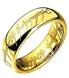 WAY2BB - 6MM Bague Tungstene Seigneur des Anneaux Lord of The Rings (or, 60)