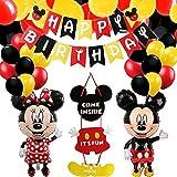 Decoraciones de Cumpleaños de Mickey Mouse,Mickey Mouse con Globos Rojos,Negros y Amarillo Guirnalda Feliz Cumpleaños,Pancarta de Feliz Cumpleaños para Niños Cumpleaños de Chicas Baby Shower