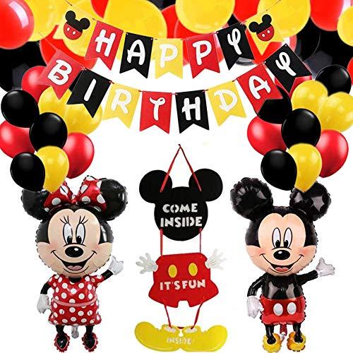 Decoraciones de Cumpleaños de Mouse,Petite Souris con Globos Rojos,Negros y Amarillo Guirnalda Feliz Cumpleaños,Pancarta de Feliz Cumpleaños para Niños Cumpleaños de Chicas Baby Shower