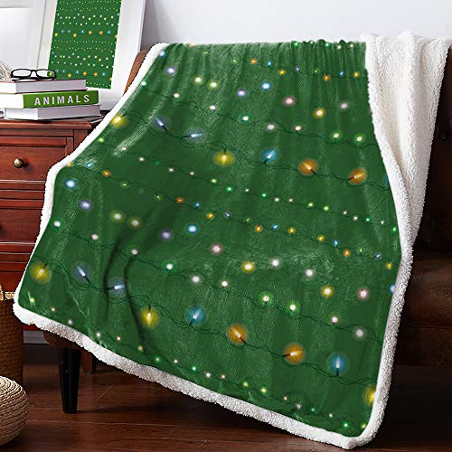 Sherpa Fleece Blanket Christmas Green String Lights Decoration Bed Blanket Soft Cozy Luxury Blanket 40'x50' - Fuzzy Thick Reversible Super Warm Fluffy Plush Microfiber Throw Blanket for Couch