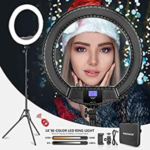 Neewer 18-inch Bi-Color LED Ring Light with LCD Display and Battery Holder, Max. 61.8inch Stand and Carry Bag Included for Live Stream Makeup Selfie YouTube Video Shooting (Battery NOT Included)