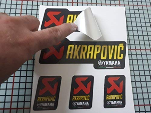 Pegatina Adhesivo Compatible con AKRAPOVIC Yamaha Aluminio + 180º Laminado Alta Temperatura Tubo Escape