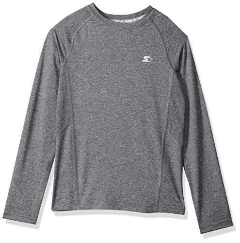 Starter Boys' Long Sleeve Logo Light-Compression Athletic T-Shirt, Amazon Exclusive, Carbon Grey Jaspe, L (12/14)
