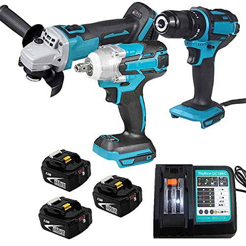 Cordless Kit Power Tool Combo Kits Cordless Drill Brushhless Impact Wrench Driver Brushless Angle Grinder with 3 Pack 5.5Ah Li-Ion Batteries and Fast Charger Compatible for Makita Combo kit