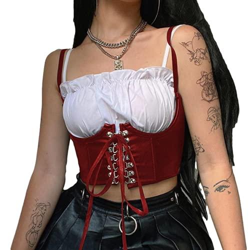 Corsé para niñas Gothic Dark Street Top Corto de Cuero para Mujer Chaleco Estilo Punk con Cordones de Ganchillo para Mujer Cinturón Retro Y2k