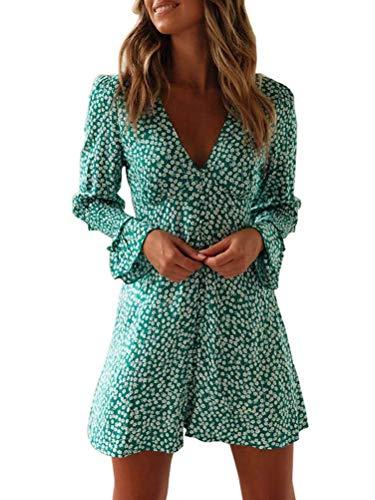 Tomwell Mujeres Elegante Casual Cintura Alta Mini Bohemio Mangas Cortas Vestido de Fiesta de Noche B Verde ES 36