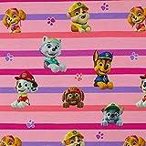 Jersey Stoff Paw Patrol Charaktere gestreift, rosa (50cm x