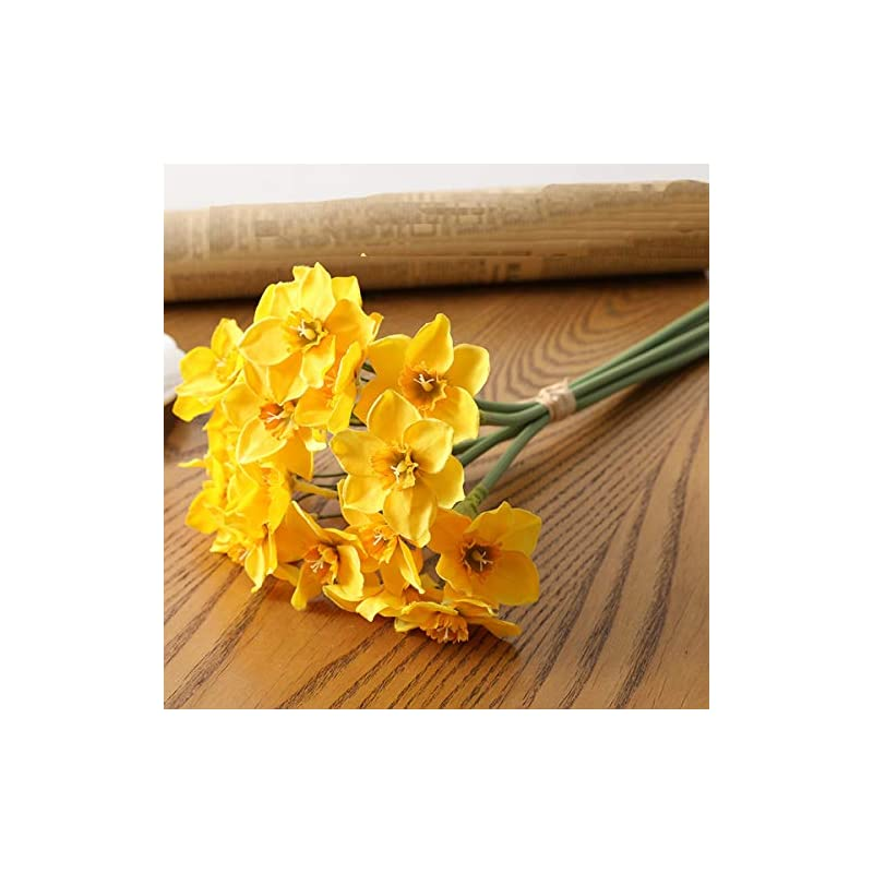 silk flower arrangements panin 6 pcs/bunch artificial flowers faux daffodil, real touch bouquet for wedding home office festival party hotel restaurant decoration(yellow)