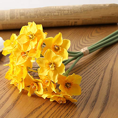 TUWAN 6 pcs/Lot Artificial Daffodil Flowers Faux White/Yellow Daffodils Flowers Faux Decor Bouquets for Home Office Store Party Decor(Yellow)