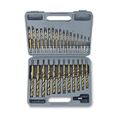 Tooluxe 10055L Titanium Coated Hex Shank Drill Bit Set, 30 Piece   Quick Change Design   1/16  - 1/2