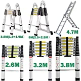 Telescopic Ladder DIY Aluminum Alloy Portable Folding Extendable Extension Multi-Purpose Ladders (1.9+1.9 M)