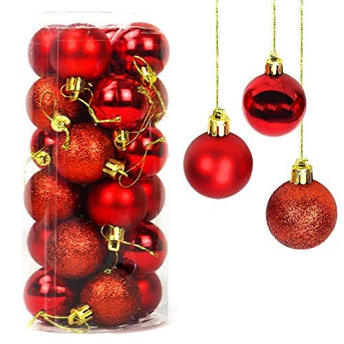 Yisscen Palle di Natale Decorazioni per Alberi, Palle per Alberi di Natale, Palle Decorative Natalizie, Palline Decorative Luccicanti opache e Lucide, per Decorazioni Feste, 24 Pezzi (Rosso)