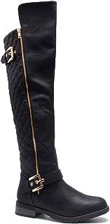 Neekkaa Women's Boots Quilted Buckle Decor Over Knee Zipper Riding Biker Boots