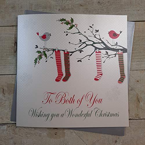 White Cotton Cards código XX 14-80 to Both of You» «(diseño con texto Wishing You A Wonderful Christmas tarjeta de Navidad, hecha A mano