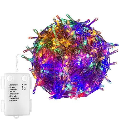 VOLTRONIC® 50 100 200 LED Lichterkette, BATTERIEBETRIEBEN, innen + außen (IP44), Timer, 8 Programme, warmweiss/kaltweiss/bunt/warmweiß+kaltweiß