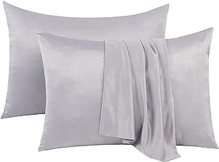 Hops&Hoping Satin Pillowcase Set of 2 King Size(Light Grey,20x36 Inches),Silky Pillow Case for Hair and Skin,Matt&Embosse...