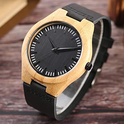 UIOXAIE Reloj de Madera Los Mejores Regalos Relojes de Caja de bambú de luz súper Pura Reloj de Madera analógico con Esfera Negra Relojes de Pulsera de Cuarzo de Cuero Informal 100% n
