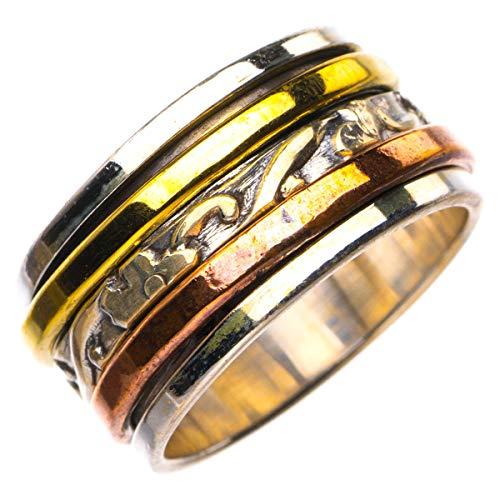 StarGems Natural Tres tonos chapado en oro de 18 quilates Anillo de plata de ley 925 único hecho a mano 13 3/8 D4463