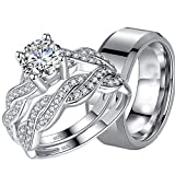 MABELLA His Hers 3 pcs Men's Stainless Steel Band & Women Infinity 925 Sterling Silver Wedding Engagement Ring Set Women's Size 10 Men's Size 13
