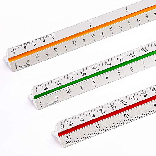 """Sooez 12"""" Architectural Scale Ruler, Aluminum Color-Coded Grooves Triangular Architect Scale Laser Etched Metal Triangular Architect Scale Ruler Solid Architecture Ruler, 1 Pack (Silver)"""