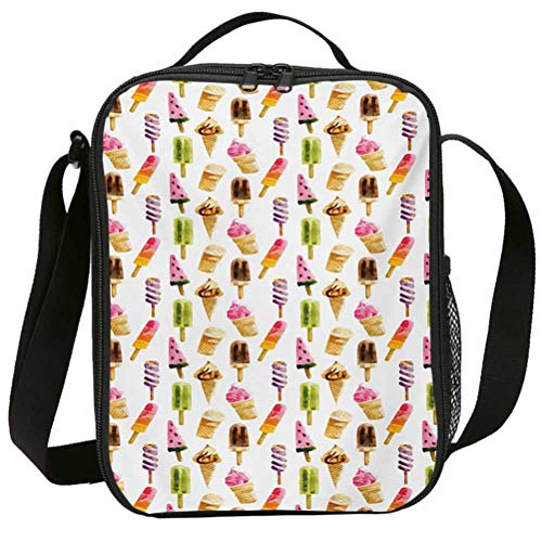 lunch bags with double zipper durable washable for adults Ice Cream Artistic Watercolor Pattern
