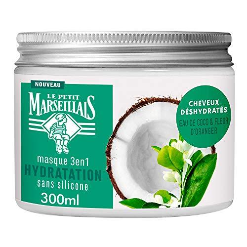 Le Petit Marseillais Masque Hydratation pour Cheveux Secs et Abîmés, Eau de Coco Fleur d'Oranger, 300ml