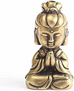 ZLBYB Solid Brass Guanyin Buddha Figurine Home Office Desk Ornaments Decoration Mini Statue Ornaments Household Decoration
