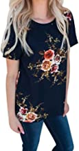 UOKNICE Blouses for Womens, Casual Short Sleeve Floral Printing Loose Pullovers T-Shirts Tees Tops