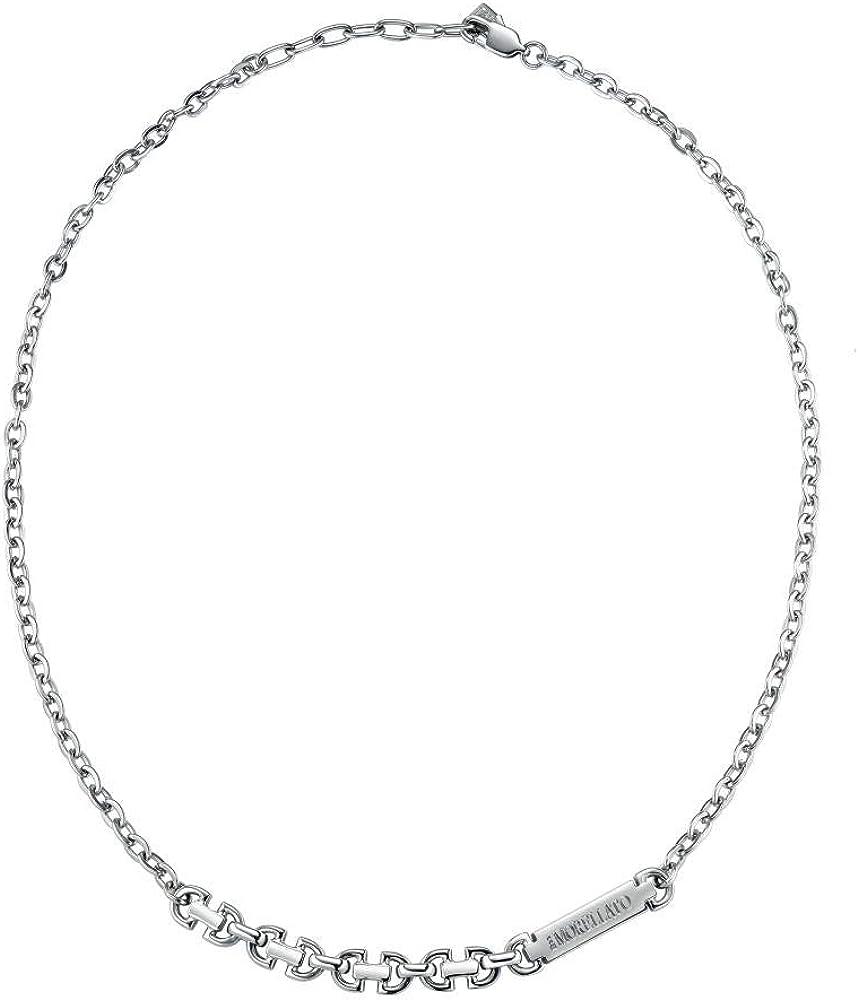 Morellato,collana per uomo,collezione motown,in acciaio inossidabile,con placchetta centrale SALS02