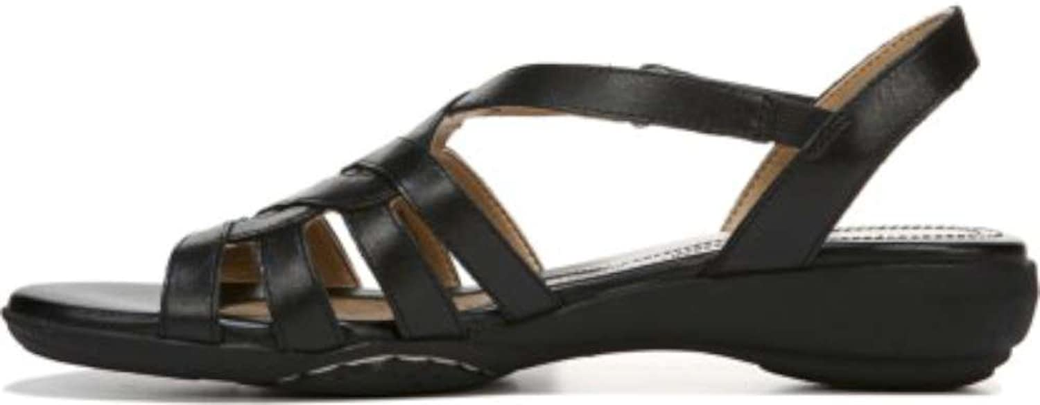 Naturalizer Womens Charm Leather Open Toe Casual, Black Leather, Size 6.0