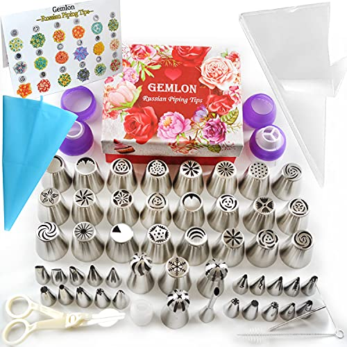 GEMLON Russian Piping Tips Cake Decorating Supplies - 88 Baking Supplies Set - 49 Icing Piping Tips - 3 Russian Ball Piping Tip, Flower Frosting Tips, Bakes Flower Nozzles-Large Cupcake Decorating Kit