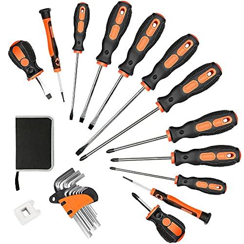 ZHJAN Juego de destornilladores magnéticos de 21 piezas, 6 destornilladores planos y 6 cruzados, llave de ángulo interior de 9 piezas, caja de embalaje y magnetizador, apto para reparaciones
