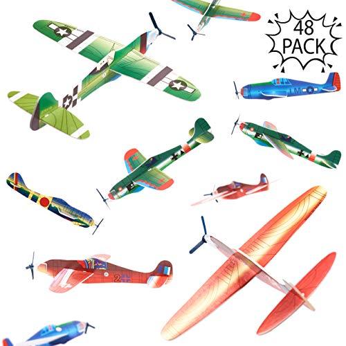 THE TWIDDLERS 48 Aviones planeadores de Papel - Niños Aeroplanos voladores en 12 diseños Distintos Detalles de Fiesta, Rellenos de Bolsas de Fiesta. - Artes y...