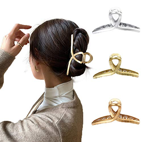 WELROG 3 Stück Kunststoff Haarspangen Klaue Damen Haar Klaue Schellen Haarnadel Rutschfest Haarspangen Vintage Einfache UnregelmäßigeRutschfeste Haarnadel Haar Zubehör(set 1)