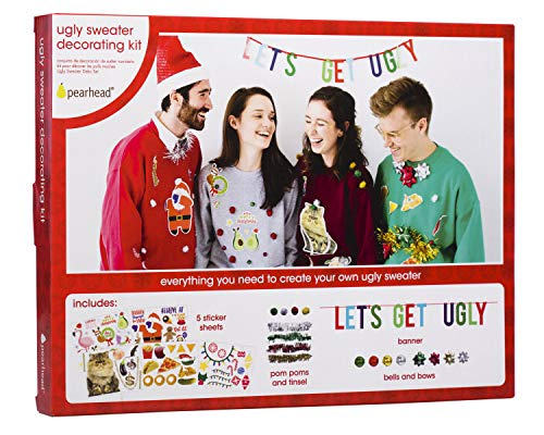 Pearhead Ugly Sweater Decorating Kit - Easily Turn Your Sweater into an Ugly Sweater This Christmas Season with This Fun Decorating Kit, Includes Tinsel, Bells, Bows, Pom Poms, a Banner, and Stickers