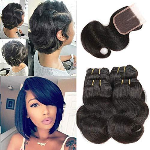 Luxnovolex Body Wave Bundles with Closure Sewn in Wigs Unprocessed Human Hair Weave with Short Brazilian Hair Extensions 230g in total(8 8 8 8 with 8)