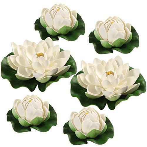 VORCOOL 6 Stück Künstliche Schwimmende Lotusblumen mit Seerosenblatt Künstliche Lotusblumen aus Kunststoff für Die Dekoration von Hausgartenteiche - Weiß