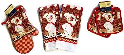 Italian Cooking Chef Linen Bundle Oven Mitt 1 Towels 2 Pot Holders 2 rd product image