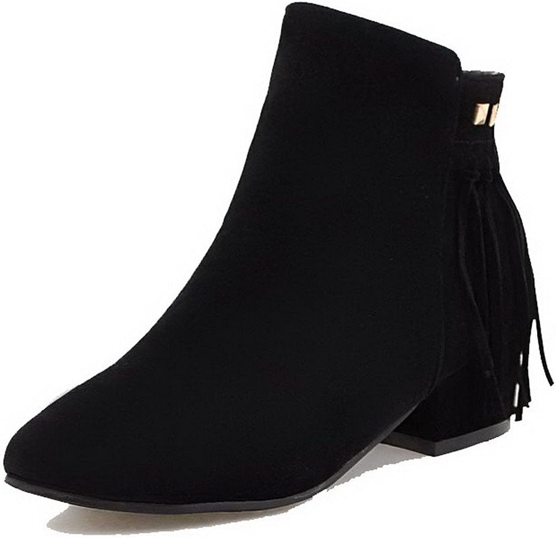 WeenFashion Women's Imitated Suede Low-Top Solid Zipper Low-Heels Boots