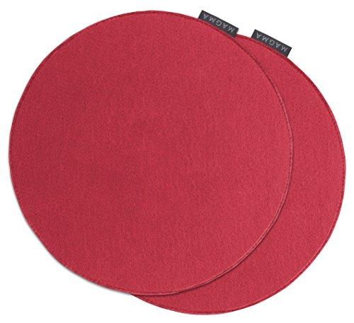 AVARO Stuhlkissen Filzimitat 2´er-Set rund Ø ca. 35cm (rot)