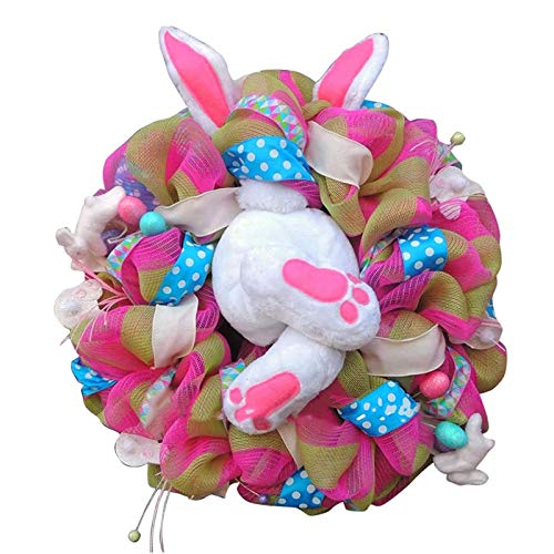 Xgxyklo Pascua Decoración Corona De Conejo para La Puerta Delantera, Pascua Tope Conejito Ladrón con Los Oídos, Decoraciones Conejo Forma Guirnalda Decoración De La Pared De Pascua,Style 4