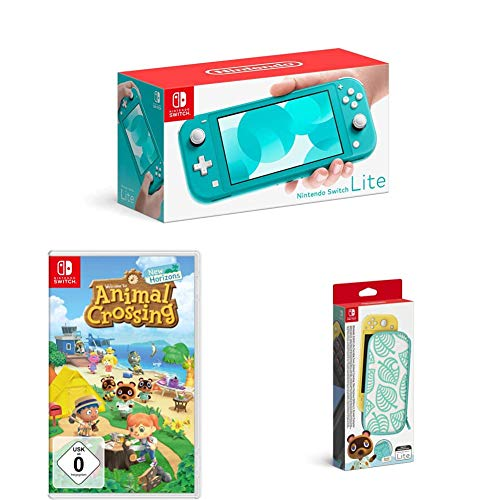 Nintendo Switch Lite, Standard, Türkis-blau + Animal Crossing: New Horizons + Nintendo Switch Lite Schutzhülle - Animal Crossing: New Horizon-Edition