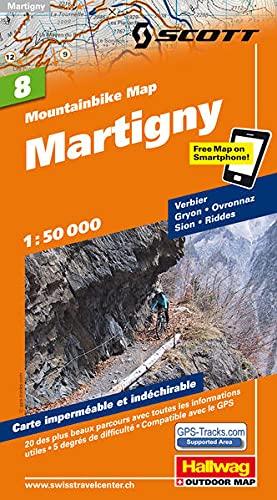 MTB-Karte 08 Martigny 1:50.000: Mountainbike Map: Verbier, Gryon, Ovronnaz, Sion, Riddes, Mit den schönsten 20 Touren, 5 Schwierigkeitsgrade, Mit ... included (Hallwag Mountainbike-Karten)