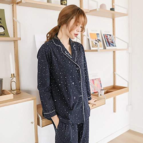 ZHOUBIN Damen Pyjama Set Revers Cardigan Baumwolle Pyjama Pyjama, Sterne, XL...