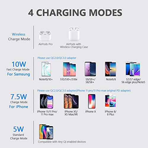 Yootech Wireless Charger,Qi-Certified 10W Max Fast Wireless Charging Pad Compatible with iPhone 11/11 Pro/11 Pro Max/XS MAX/XR/XS/X/8,Samsung Galaxy S20/Note 10/S10/S9, AirPods Pro(With 2 USB C Cable)