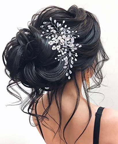 Unicra Pearl Bride Hochzeit Haarrebe Silber Stirnband Strass Kopfschmuck Brauthaar Zubehör für Frauen und Mädchen